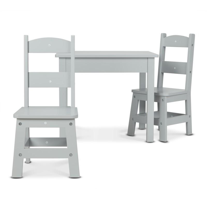 Tafel met 2 stoeltjes grijs, Melissa & Doug | 3vosjes.nl