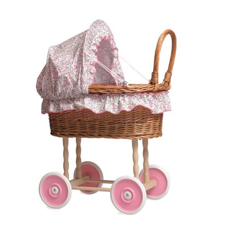 Rieten poppenwagen bloembekleding, Egmont Toys