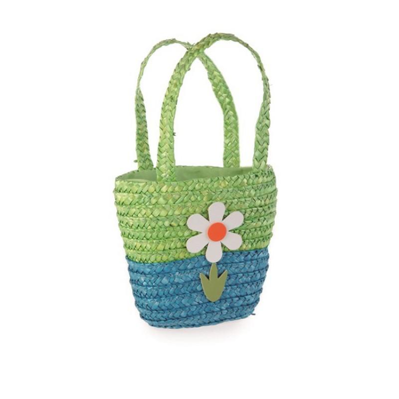520161 Rieten tas blauwgron met bloem, Egmont Toys