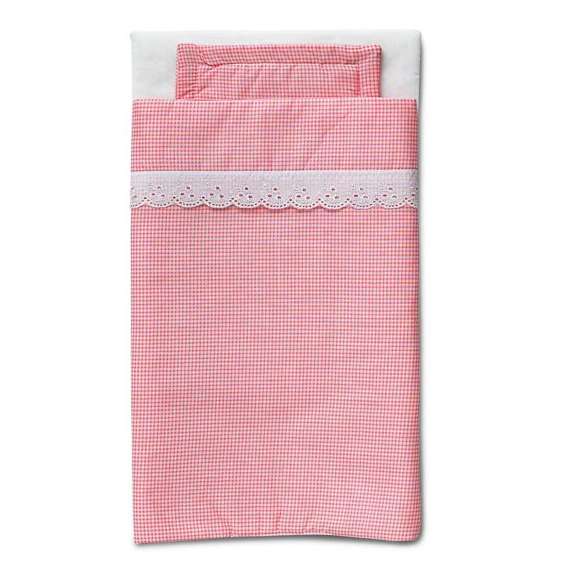 Beddengoed roze ruitjes voor poppenbed, Micki