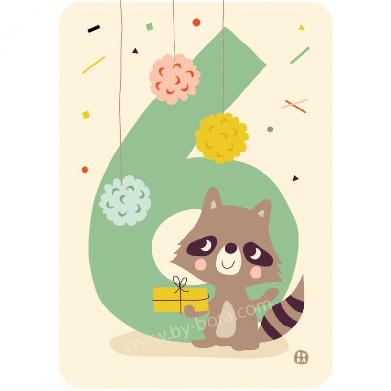 6 Wasbeer, kaart & envelop, Bora