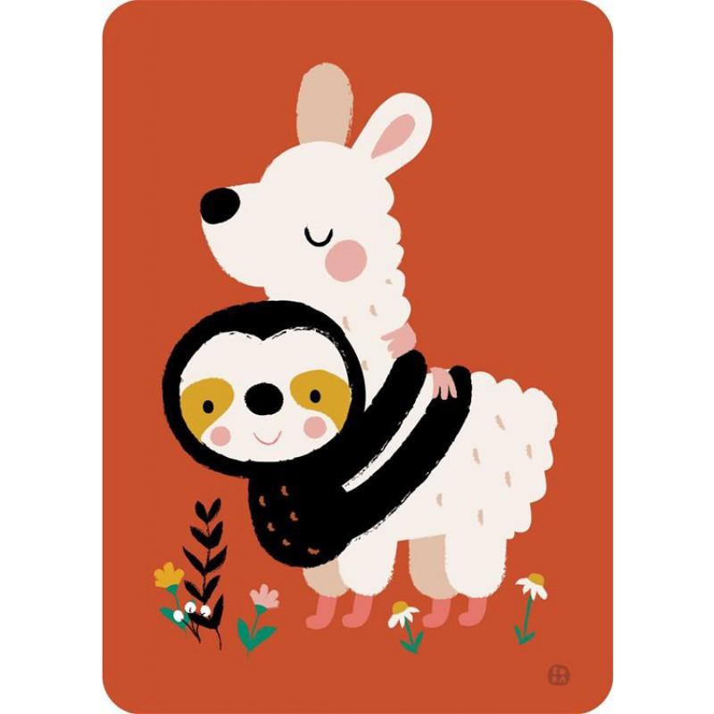 Ansichtkaart luiaard alpaca, Bora