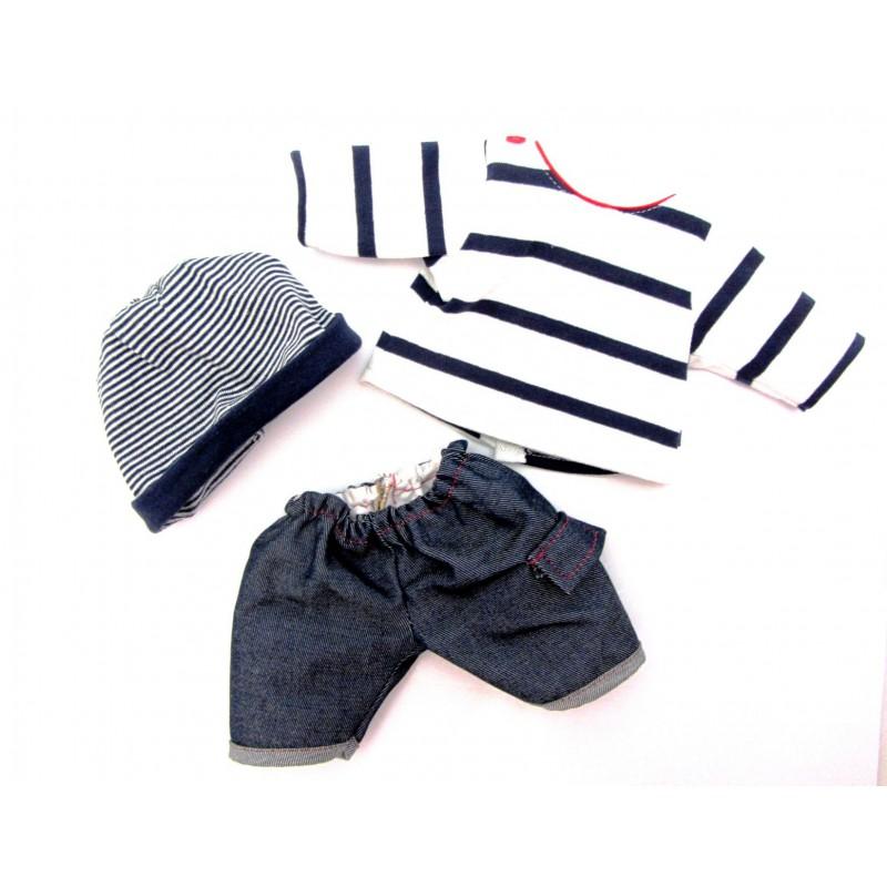 Kledingset Bretonse jongen babypop 34 cm, Paola Reina