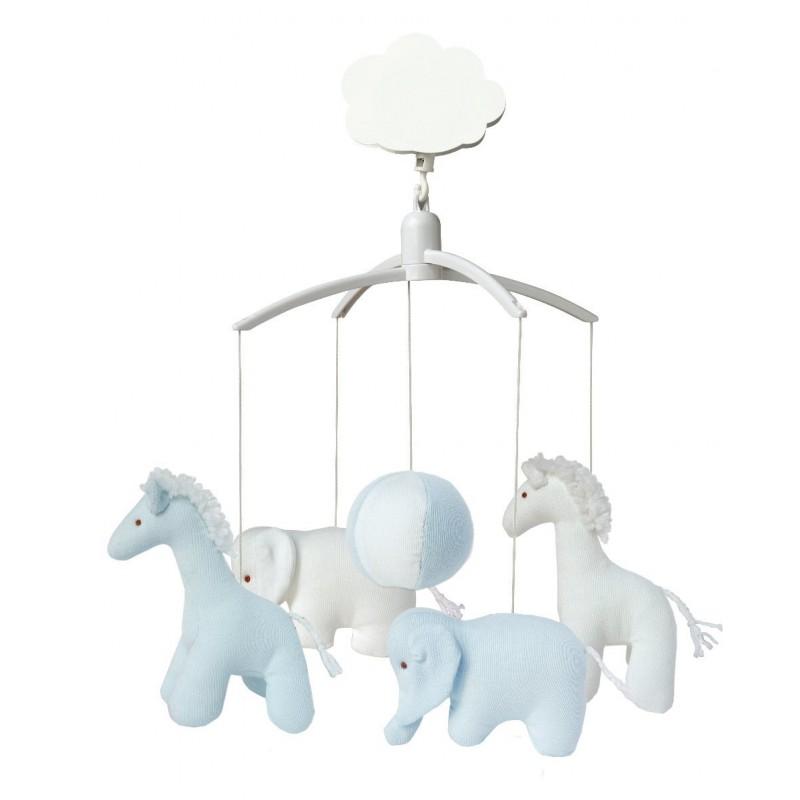 Muziekmobiel giraf en olifant blauw