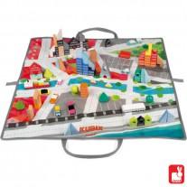 Blokken architectuur met speelkleed, Janod