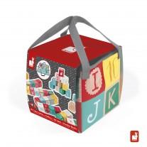 40 Blokken Cijfers en Letters met speelkleed, Janod