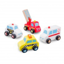 Houten auto's hulpdiensten, New Classic Toys