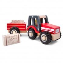 Houten tractor met aanhanger en hooibalen
