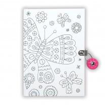 Color-in dagboek met slot vlinders, Mudpuppy