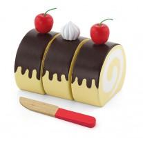 Houten cakerol met mesje
