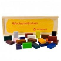 Bijenwasblokjes 24 kleuren in kist, Stockmar