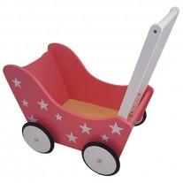 Houten poppenwagen Pink Stars