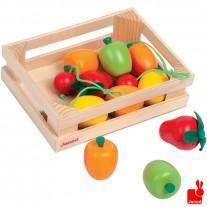Kistje met 12 stuks houten speelfruit, Janod