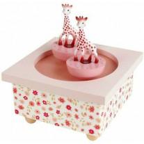 Muziekdoos met draaiende Sophie de Giraf roze