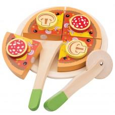 Houten snijset pizza salami