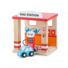 Houten tankstation met autoHouten tankstation met auto