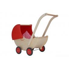 Houten poppenwagen met rode kap, Van Dijk Toys