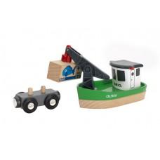 Boot met hijskraan, Brio