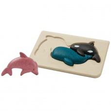 Chunky puzzel zeedieren, Plan Toys