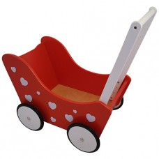 Houten poppenwagen Red Hearts