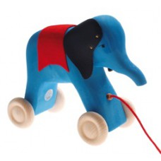 Houten trekdier olifant blauw, Grimm's