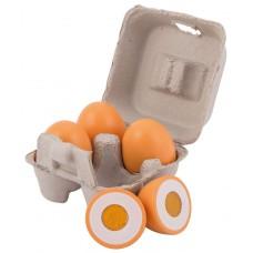 Houten snij-eieren in doosje