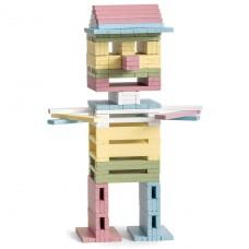 Houten bouwplankjes pastel, Micki
