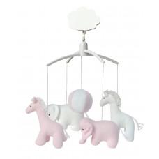 Muziekmobiel giraf en olifant roze