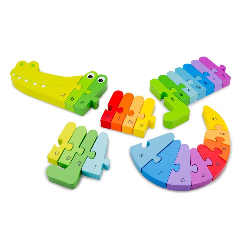 Alfabet puzzel krokodil, New Classic Toys