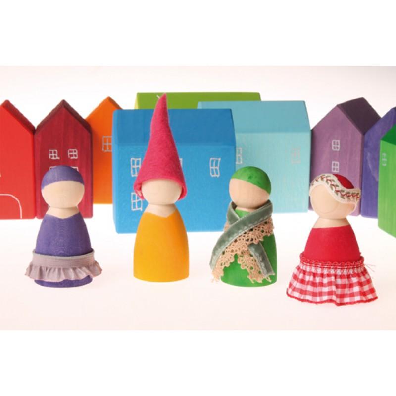 7 Regenboogvriendjes met bakjes en schaaltje, Grimm's