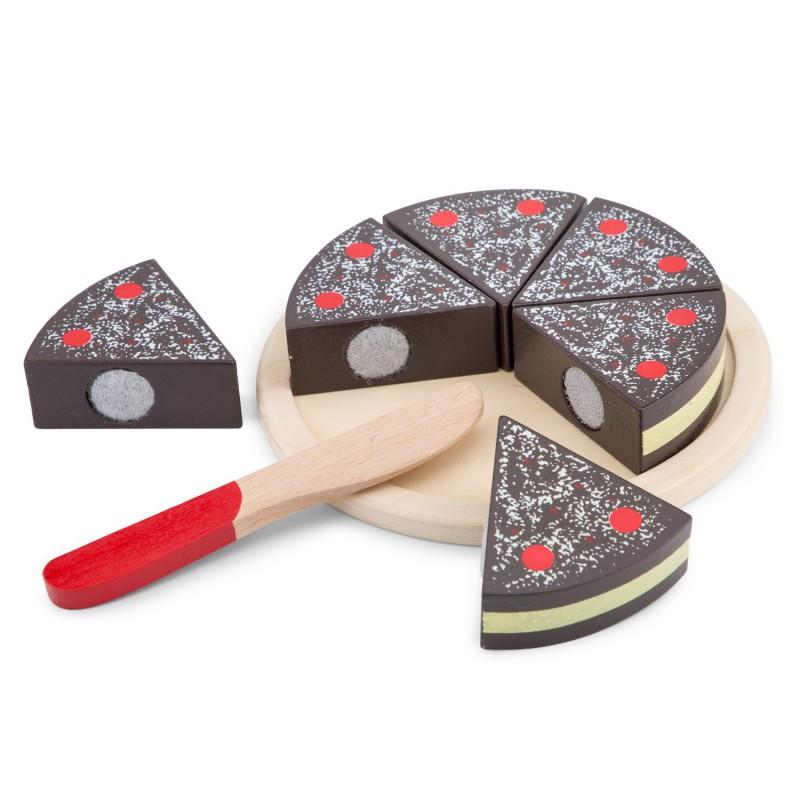 Houten snijset chocoladetaart