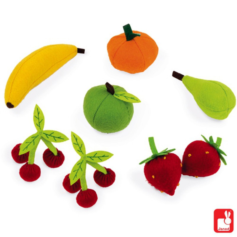Mandje stoffen fruit, Janod