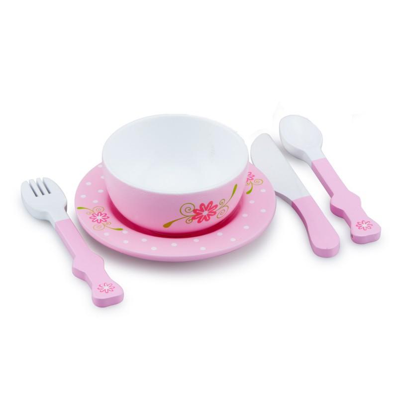 Houten dinerservies roze