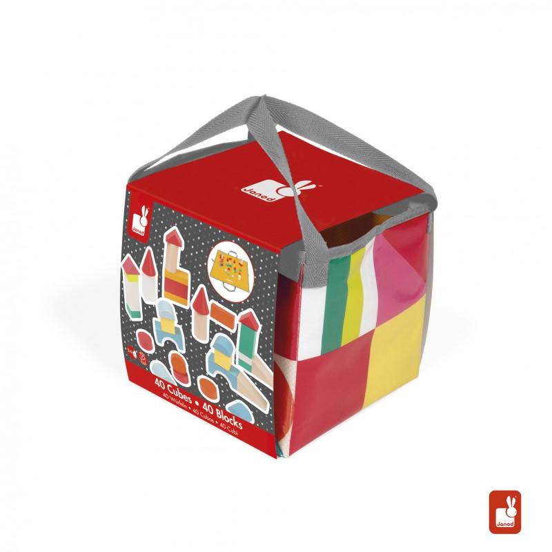 40 Blokken met speelkleed, Janod