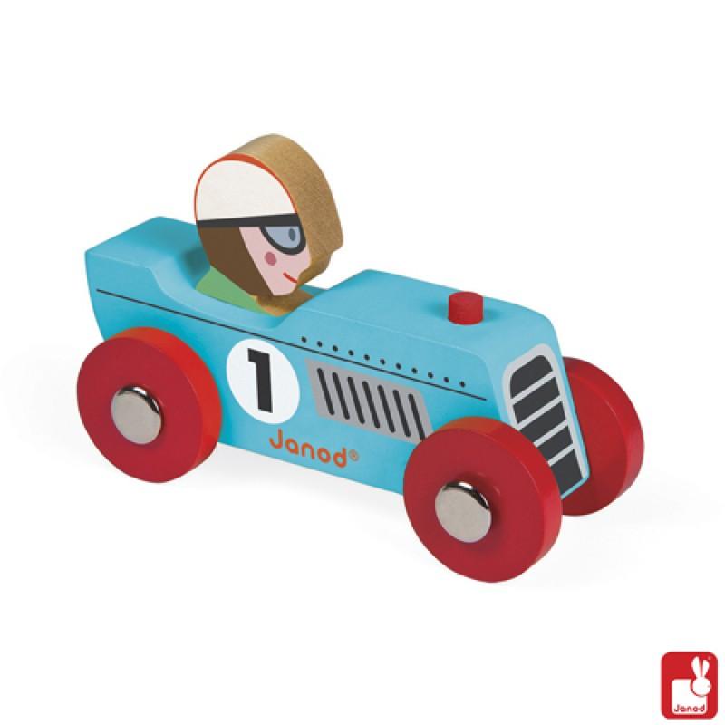 Story blauwe raceauto Retromotor, Janod