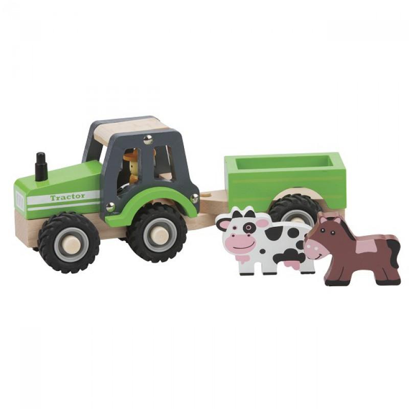 Houten tractor met aanhanger en diertjes