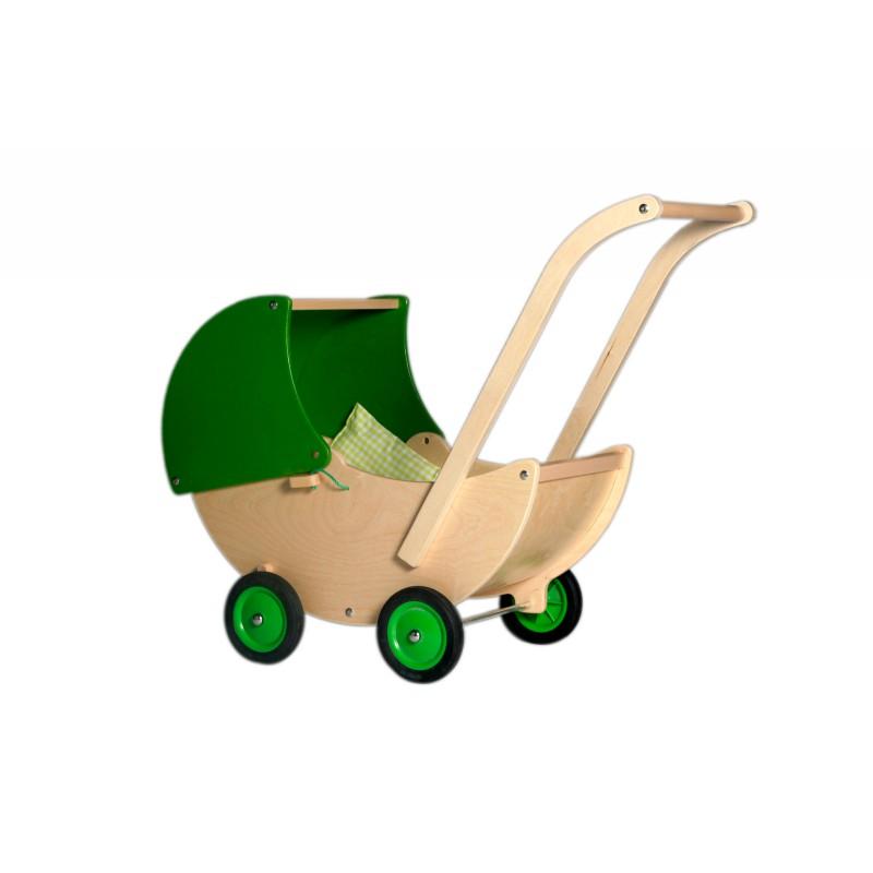 Houten poppenwagen met groene kap, Van Dijk