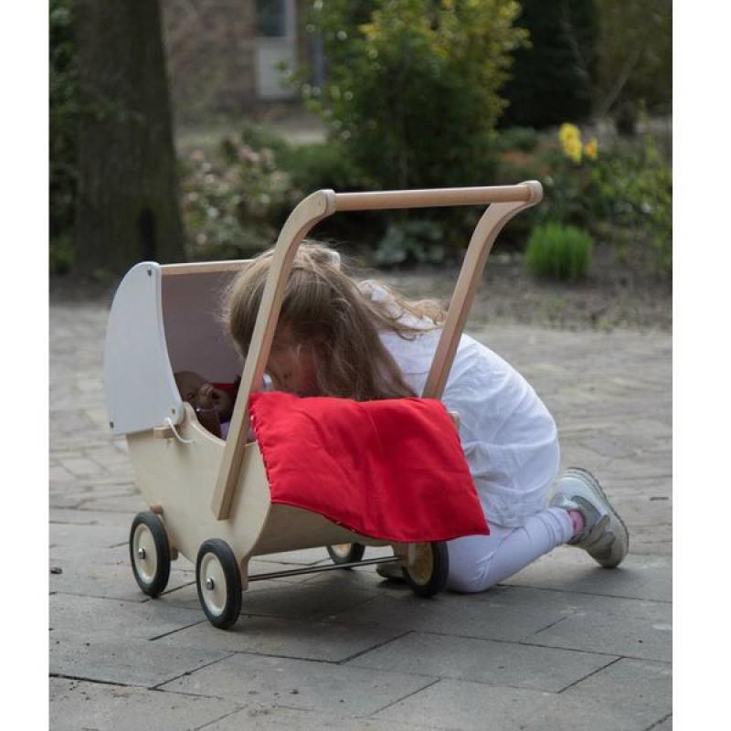 Houten poppenwagen met witte kap, Van Dijk