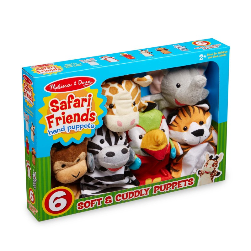 Handpoppen Safari Friends 6 st, Melissa & Doug