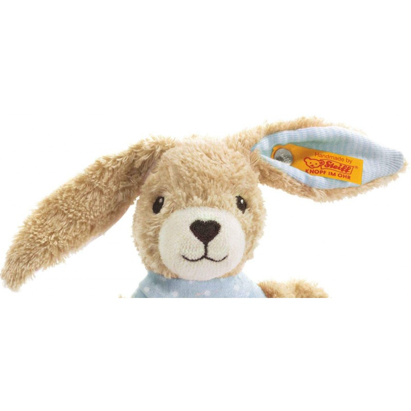 Rammelaar konijn Hoppel blauw, Steiff