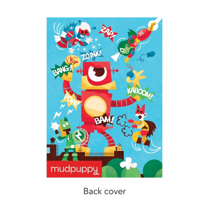 Dagboek met slot Superheld, Mudpuppy (achterzijde)