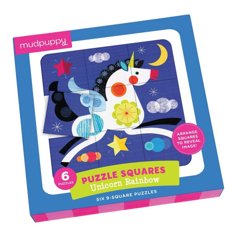 Puzzel squares eenhoorn regenboog, Mudpuppy