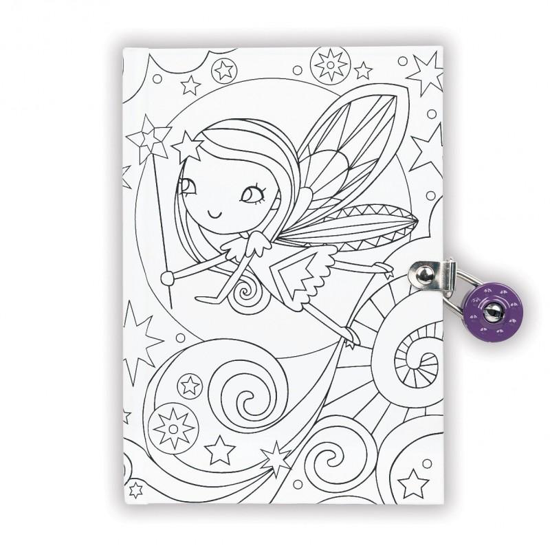 Color-in dagboek met slot elfje, Mudpuppy