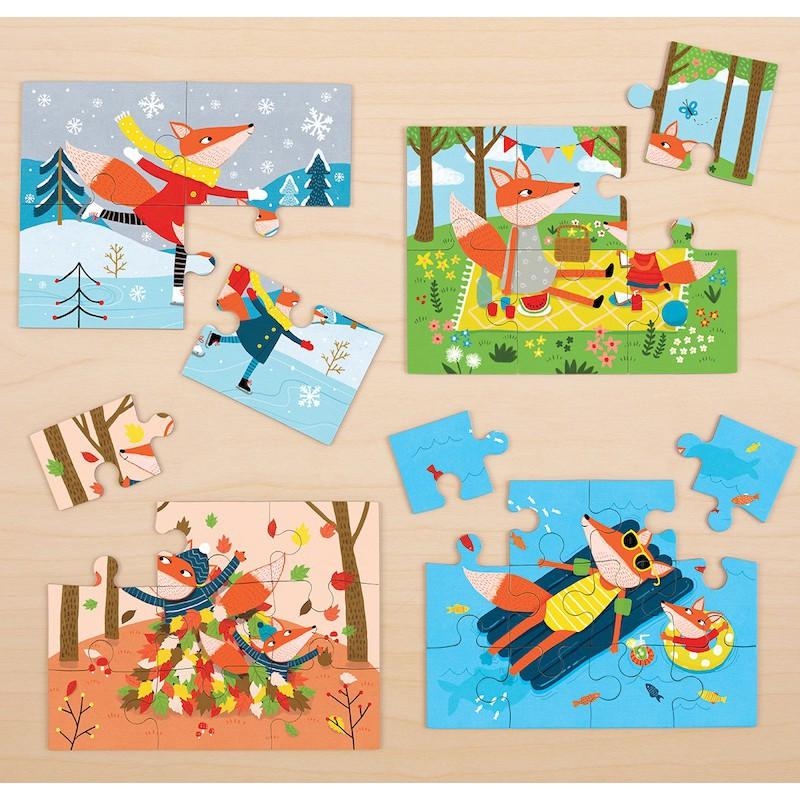 4 In a Box puzzelset seizoenen, Mudpuppy