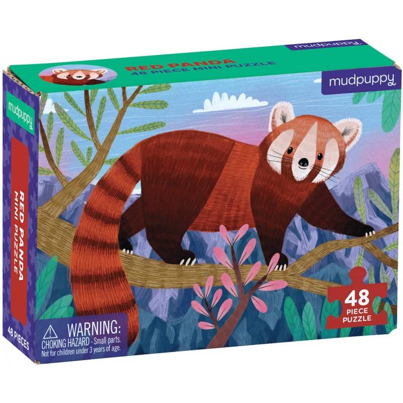 Mini puzzel Rode Panda 48 st, Mudpuppy