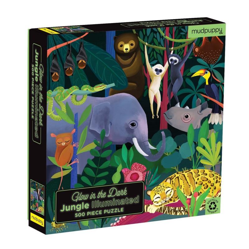 Glow puzzel Jungle 500 st., Mudpuppy