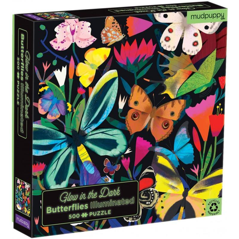 Glow puzzel vlinders 500 st, Mudpuppy