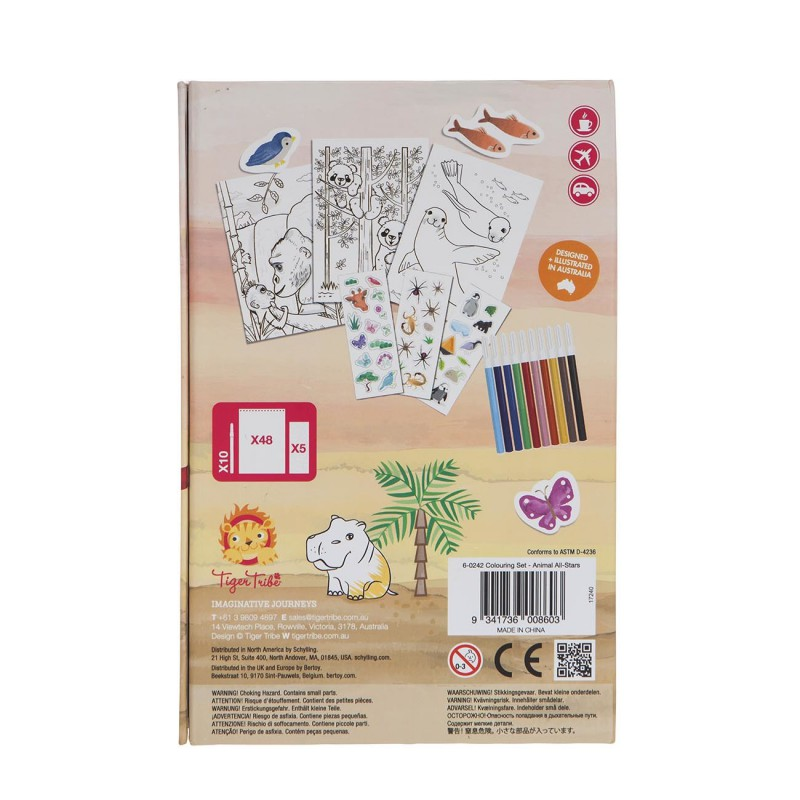 Kleur- en stickerset Animal All-Stars, Tiger Tribe