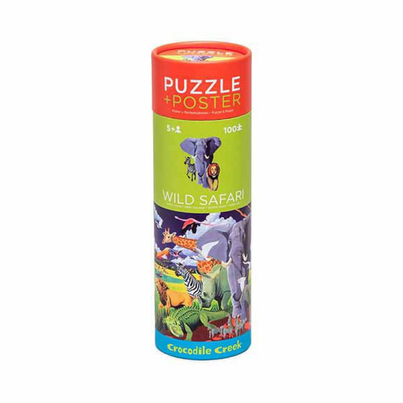 Puzzel & poster Wild Safari 100 st, Crocodile Creek
