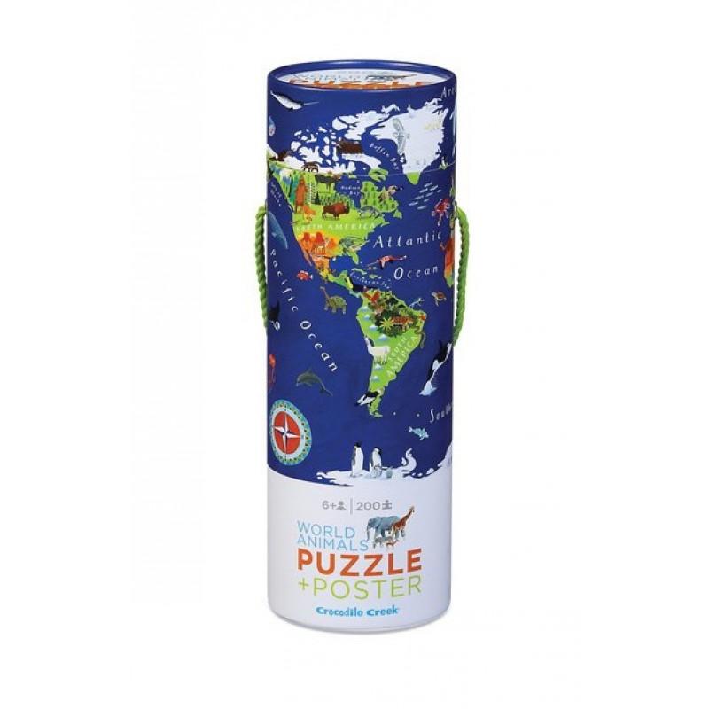 Puzzel & poster Werelddieren 200 st, Crocodile Creek